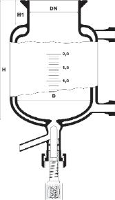 Dubbelwandige reactor met ronde bodem en bodemventiel