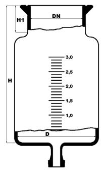 Reactievat met platte bodem en bodemflens DN15