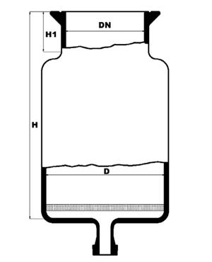 Reactievat met platte bodem, filterplaat en bodemflens