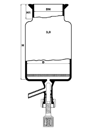 Reactievat met platte bodem, filterplaat en bodemventiel