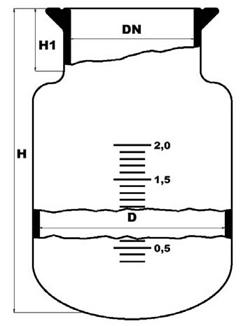 Reactievat met ronde bodem en laboflens