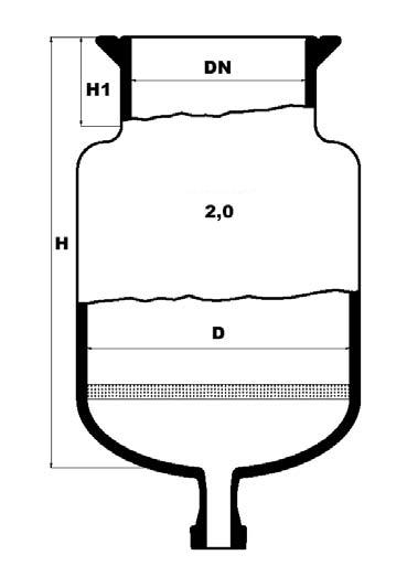 reactievat met ronde bodem, filterplaat en bodemflens