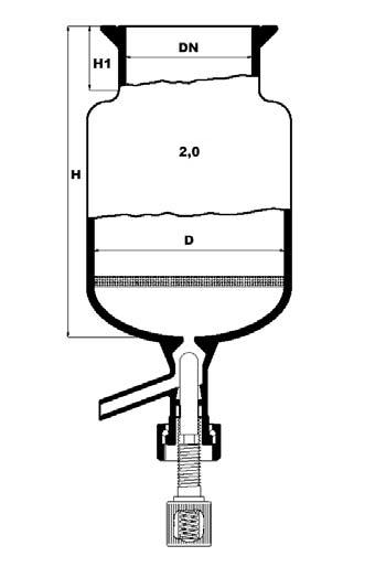 reactievat met ronde bodem, filterplaat en bodemventiel