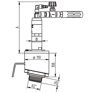 AFR 64 perslucht roermotor montage afmetingen