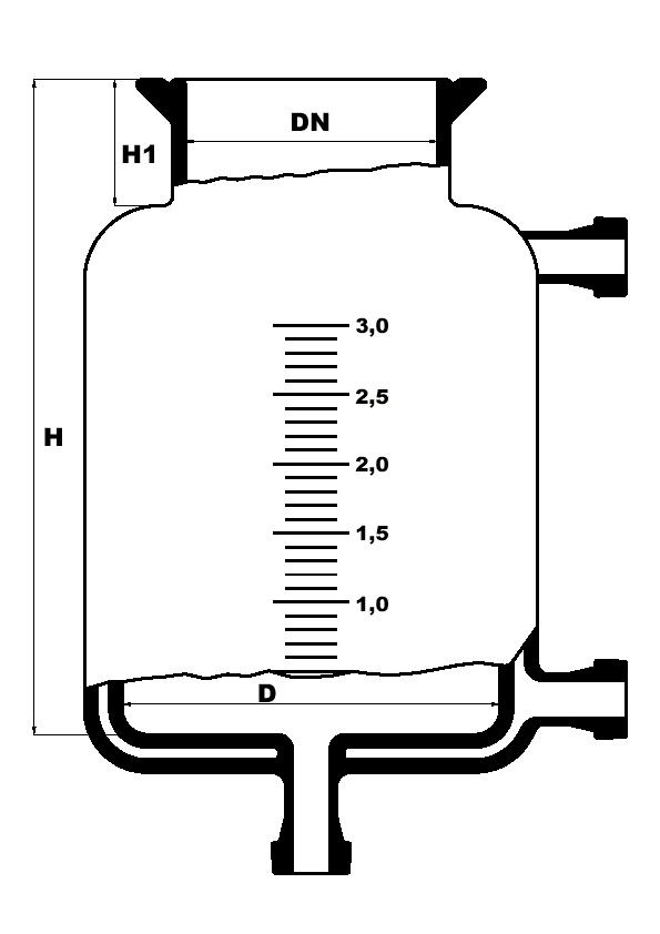 Dubbelwandig reactievat met platte bodem en bodemuitloop