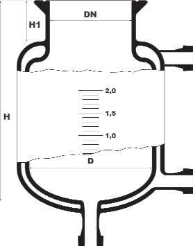 Dubbelwandige reactor met ronde bodem en bodemflens