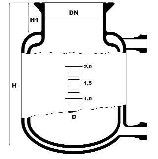 Réacteur à double enveloppe avec fond rond