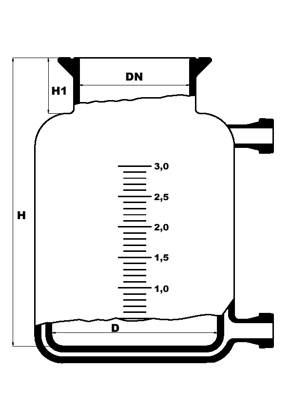 Dubbelwandige reactor met platte bodem