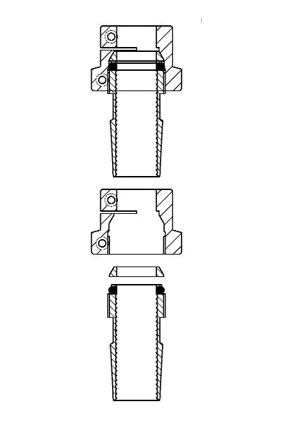 Klemkoppeling met NS slijpstuk voor Pt100 sensors