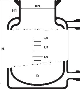 Dubbelwandig reactievat met ronde bodem inwendig en platte bodem uitwendig